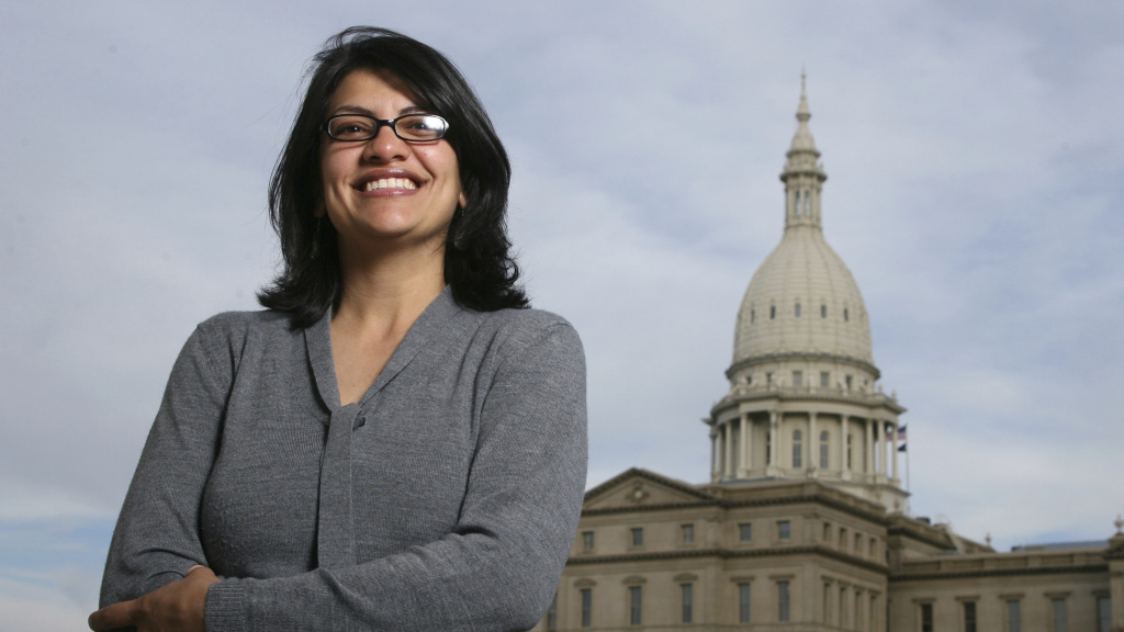 Rashida Tlaib, pictured in 2008 outside the Michigan Capitol in Lansing, Mich., served as a state legislator for six years. On Tuesday, Democrats picked her to run unopposed for the congressional seat that former Rep. John Conyers held for more than 50 years. Tlaib would be the first Muslim woman in Congress.