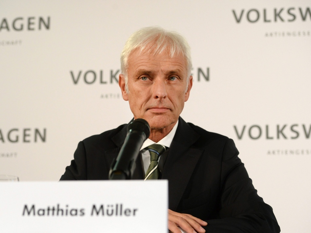 Matthias Mueller, new chief executive of Volkswagen AG, attends a news conference at the VW factory in in Wolfsburg, Germany, on Friday. Mueller takes over after Martin Winterkorn resigned earlier this week amid a diesel emissions-testing scandal.