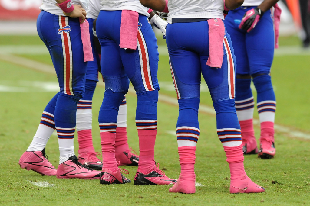 Members of the Buffalo Bills wear pink during a game against the Arizona Cardinals for Breast Cancer Awareness Month.