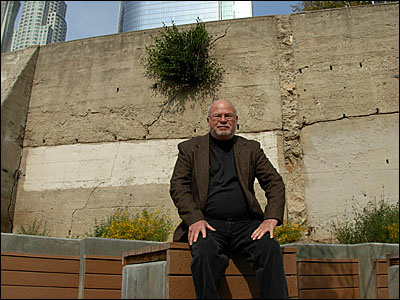 Off-Ramp City Critic Sam Hall Kaplan at the pocket park in downtown Los Angeles on Hill Street between 3rd and 4th Streets.