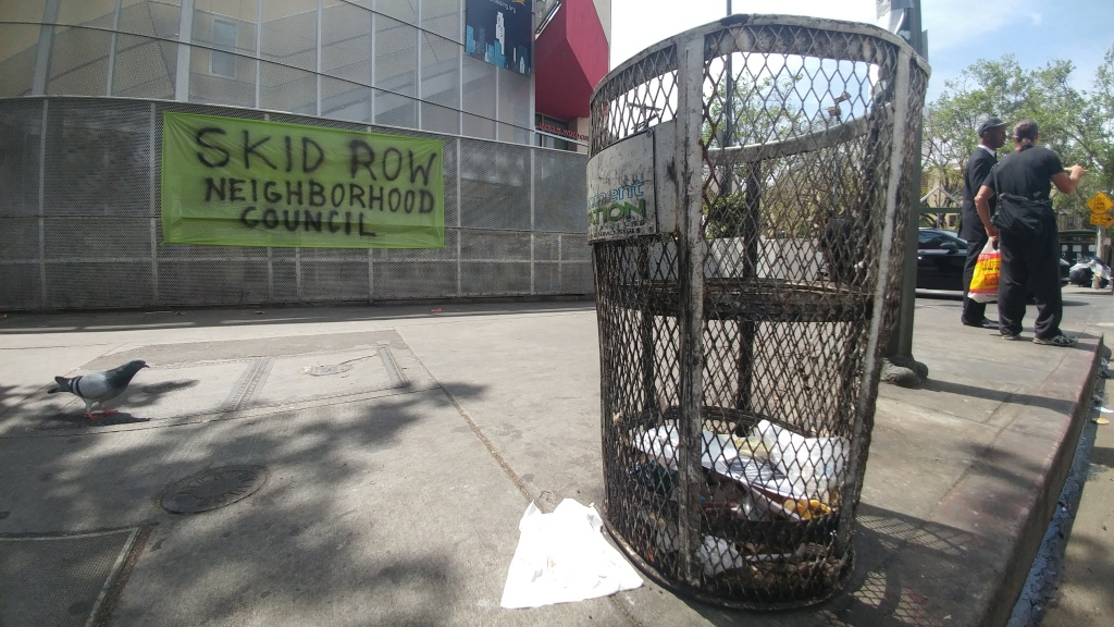 File: A banner supporting the Skid Row Neighborhood Council hangs outside the James M. Wood Community Center on Thursday, April 6, 2017.