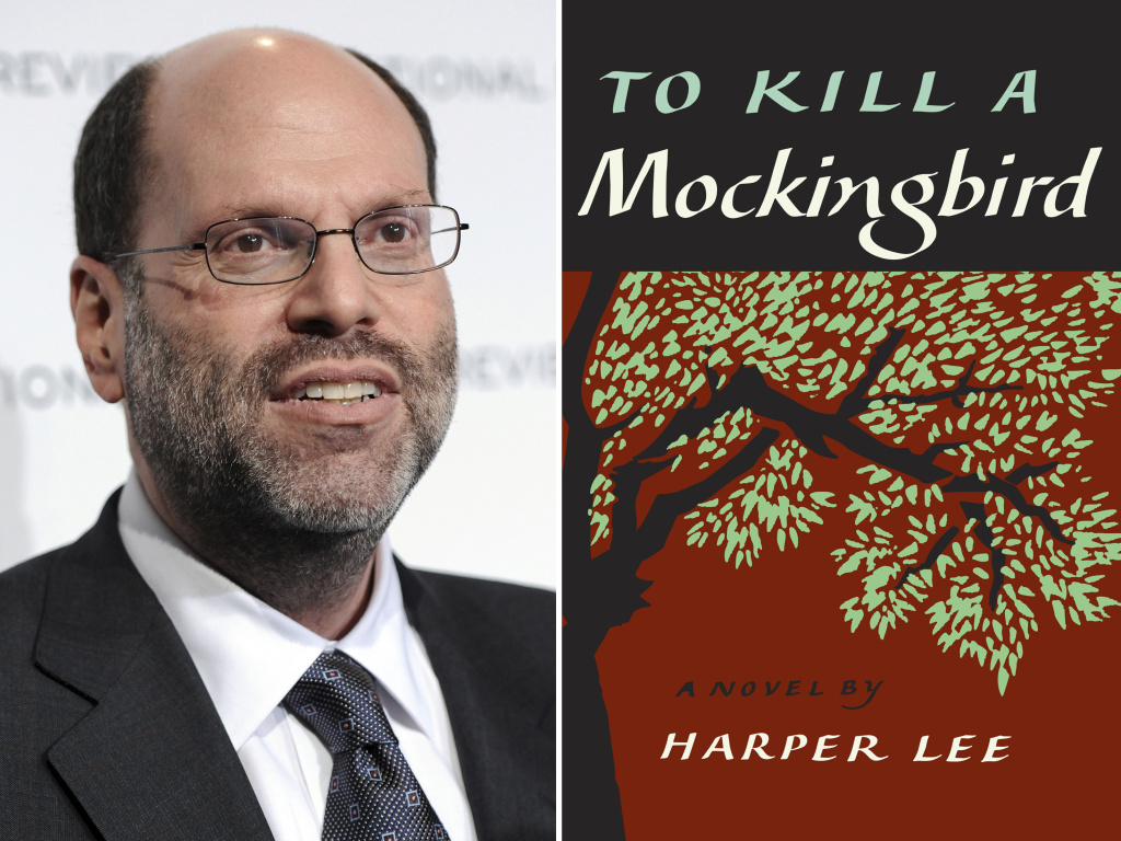 This combination photo shows Hollywood and Broadway producer Scott Rudin and the cover of Harper Lee's