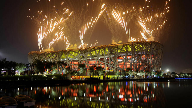 Fireworks light the night sky above the National Stadium, known as the Bird's Nest, during the closing ceremony of the 2008 Beijing Olympic Games in Beijing, Aug. 24, 2008. The stadium is largely empty these days.