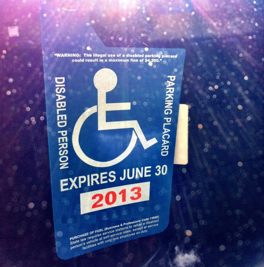 A legal handicap placard. (Photo digitally altered to cover ID number.)