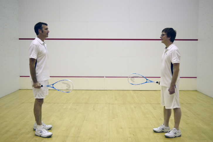 Artists playing squash