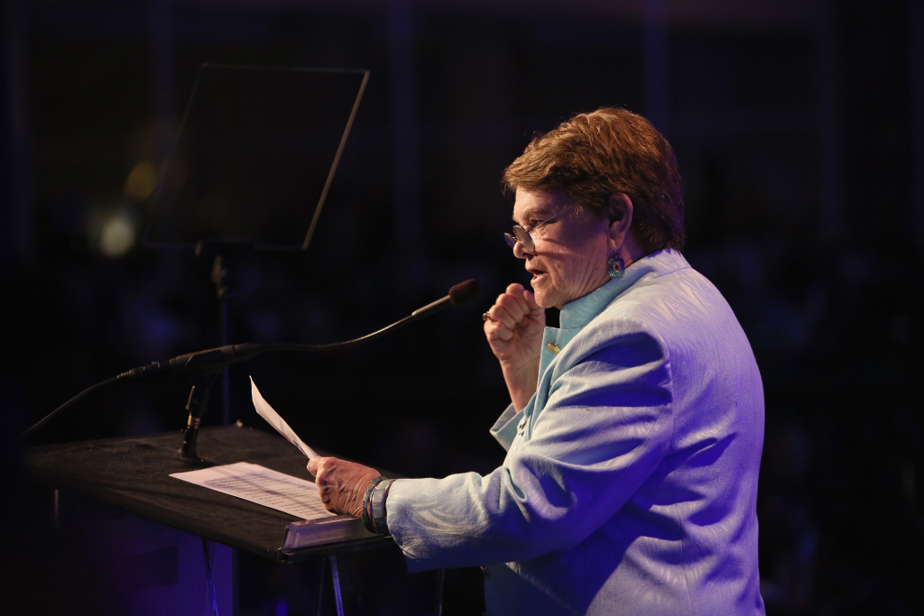 Councilwoman Sheila Kuehl speaks onstage the Venice Family Clinic's Silver Circle Gala at Regent Beverly Wilshire Hotel on March 9, 2015 in Beverly Hills, California.