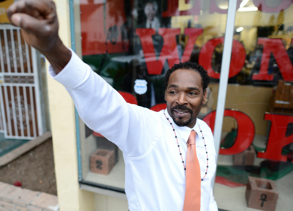 Rodney King gestures prior to the presentation of his autobiographical book 'The Riot Within...My Journey from Rebellion to Redemption' at the Eso Won Book Store in Los Angeles, California, on April 30, 2012. The 1992 police beating of Rodney King sparked the L.A. Riots that left more than 50 people dead.