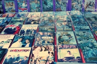 Pirated DVDs for sale.
