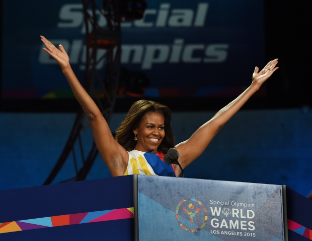 US First Lady Michelle Obama declares the 2015 Special Olympics World Games open July 25, 2015 at the Los Angeles Memorial Coliseum in Los Angeles, California.  The world's largest sports organization for children and adults with intellectual disabilities, the Special Olympics will be the single largest event in Los Angeles since the 1984 Olympics, with more that 7,000 athletes from 165 countries participating.        AFP PHOTO/MARK RALSTON        (Photo credit should read MARK RALSTON/AFP/Getty Images)