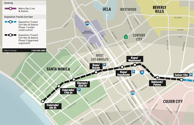 A Metro map shows the course of the Expo Line Phase 2, which will open May 20, 2016.