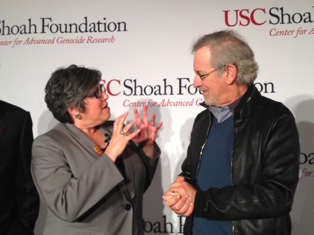 USC psychology Professor Beth Meyerowitz talks and filmmaker Steven Spielberg attended the inauguration of the university's new genocide research center.