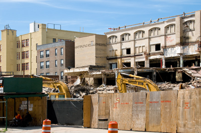 Historic bakery being demolished for the Atlantic Yards project; the Atlantic Yards qualified for the special concessions using a gerrymandered high-unemployment district in Brooklyn, New York.