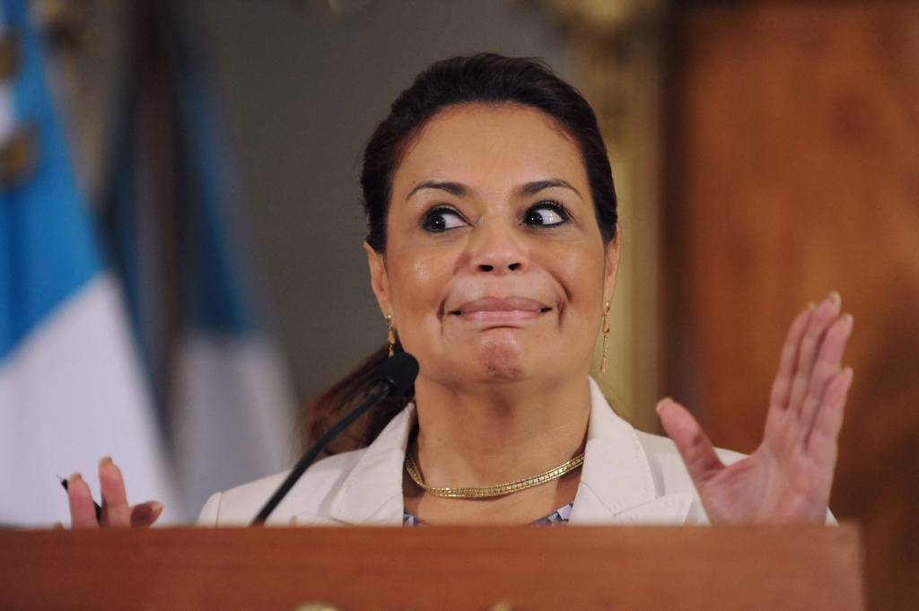 Guatemala's Vice-President Roxana Baldetti offers a press conference at the presidential residence in Guatemala City on April 19, 2015. She resigned Friday amid a customs corruption scandal that implicated her former private secretary and opened her up to an investigation.