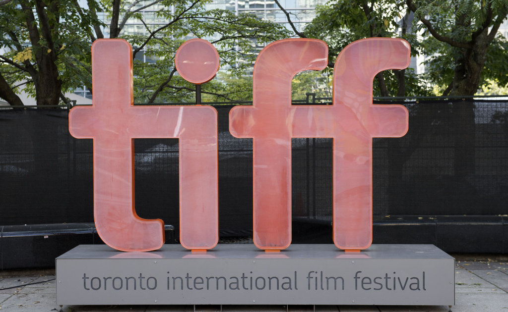 A picture taken on September 12, 2017 shows the Tiff logo during the 2017 Toronto International Film Festival, in Toronto, Ontario.