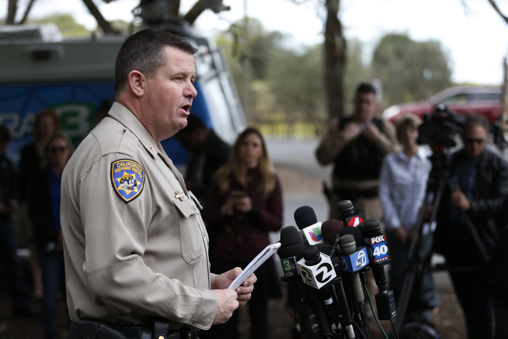 Chris Childs, assistant chief of the California Highway Patrol, speaks at a press conference during an active shooter situation at the Veterans Home of California on March 9, 2018 in Yountville, California. A lone gunman opened fire and is holding three hostages inside the largest veterans facility in the United States founded in 1884.