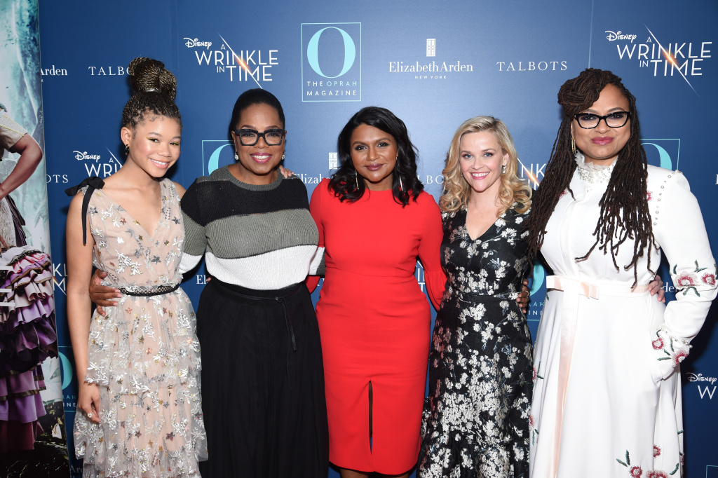 NEW YORK, NY - MARCH 07:  Storm Reid, Oprah Winfrey, Mindy Kaling, Reese Witherspoon and Ava DuVernay attend as O, The Oprah Magazine hosts special NYC screening of