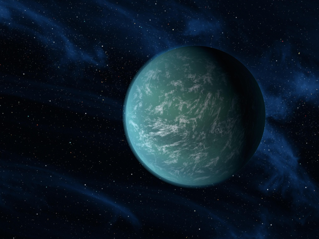 In this handout illustration made available on December 5, 2011 by NASA, the Kepler-22b, a planet known to comfortably circle in the habitable zone of a sun-like star is digitally illustrated.  Clouds could exist in this earth's atmosphere, as the artist's interpretive illustration depicts.