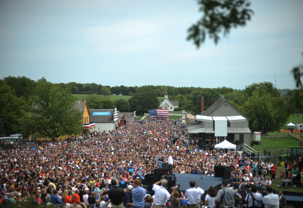 US President Barack Obama speaks at a campaign event at Living History Farms on September 1, 2012 in Urbandale, Iowa.