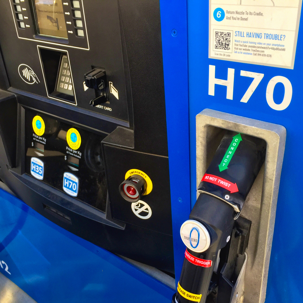 The hydrogen fueling pump in South Pasadena is labeled with instructions on exactly how to use it. KPCC host John Rabe said it was easy to follow along.