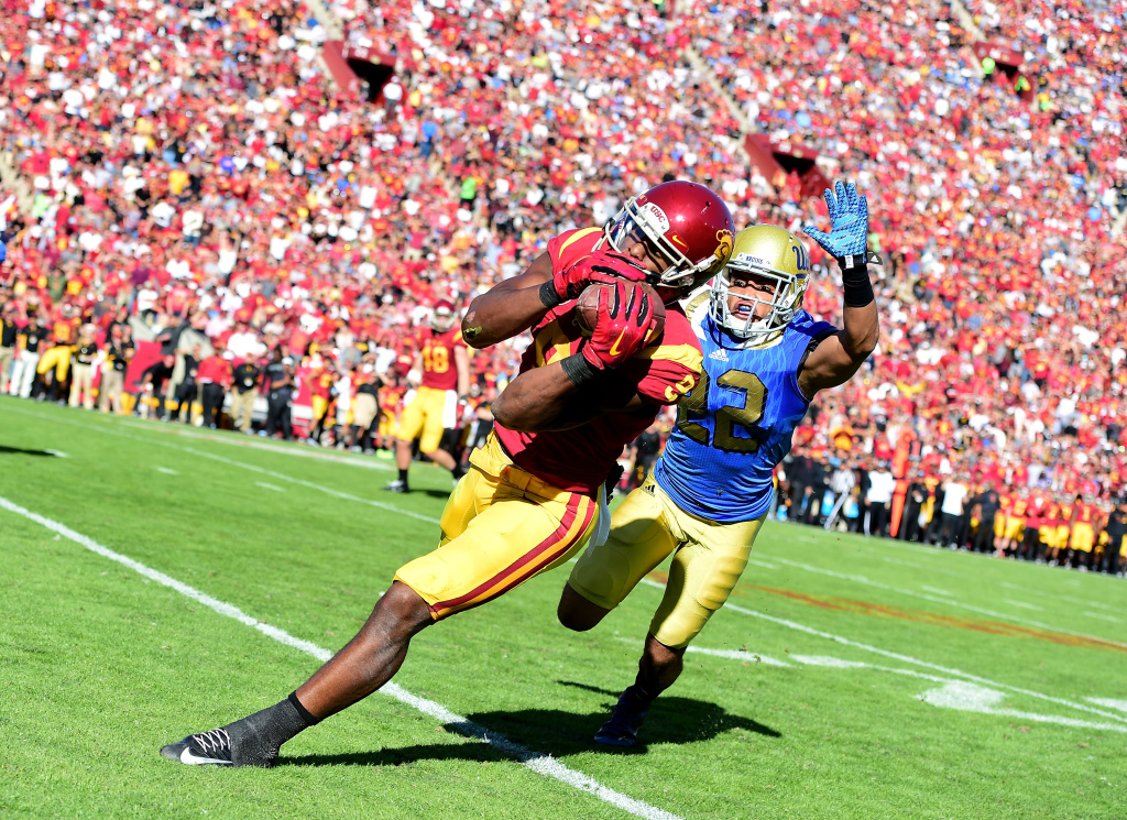 The USC Trojans battle the UCLA Bruins in their annual football game, on November 28, 2015.