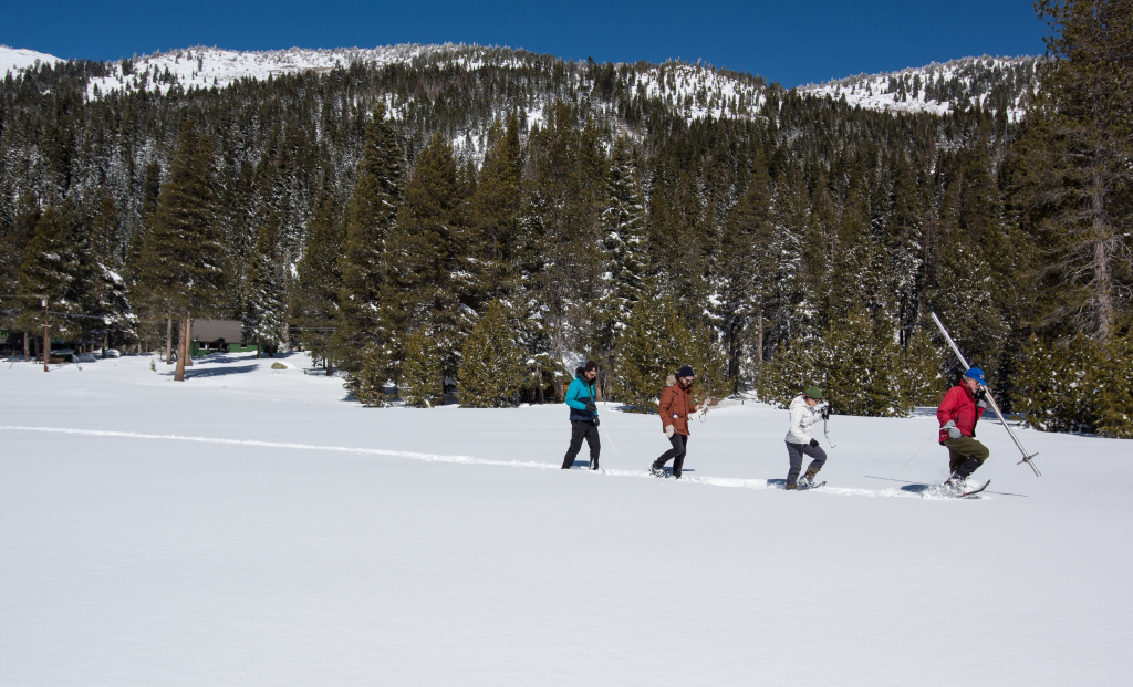 A team of science fellows survey the 2018 snow season at Phillips Station in El Dorado County on March 5. The survey site is in the Sierra Nevada Mountains approximately 90 miles east of Sacrament