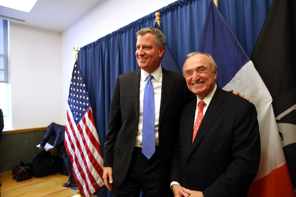 Incoming New York mayor Bill de Blasio (L) stands with Bill Bratton, who has been named to lead the New York Police Department, on December 5, 2013 in New York City.  Bratton was police commissioner in New York in the mid-1990s and had been considered a front-runner for the job, He will return to a city that is experiencing historically low crime rates.
