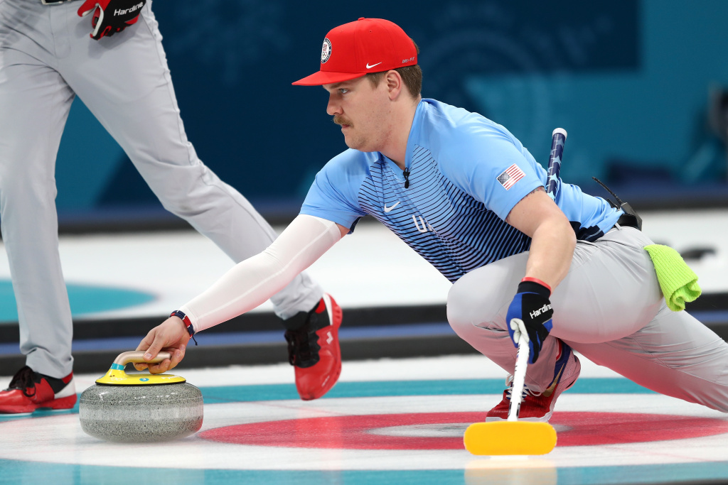 GANGNEUNG, SOUTH KOREA - FEBRUARY 24:  Matt Hamilton of the United States looks on during the game against Sweden during the Curling Men's Gold Medal game on day fifteen of the PyeongChang 2018 Winter Olympic Games at Gangneung Curling Centre on February 24, 2018 in Gangneung, South Korea.  (Photo by Richard Heathcote/Getty Images)