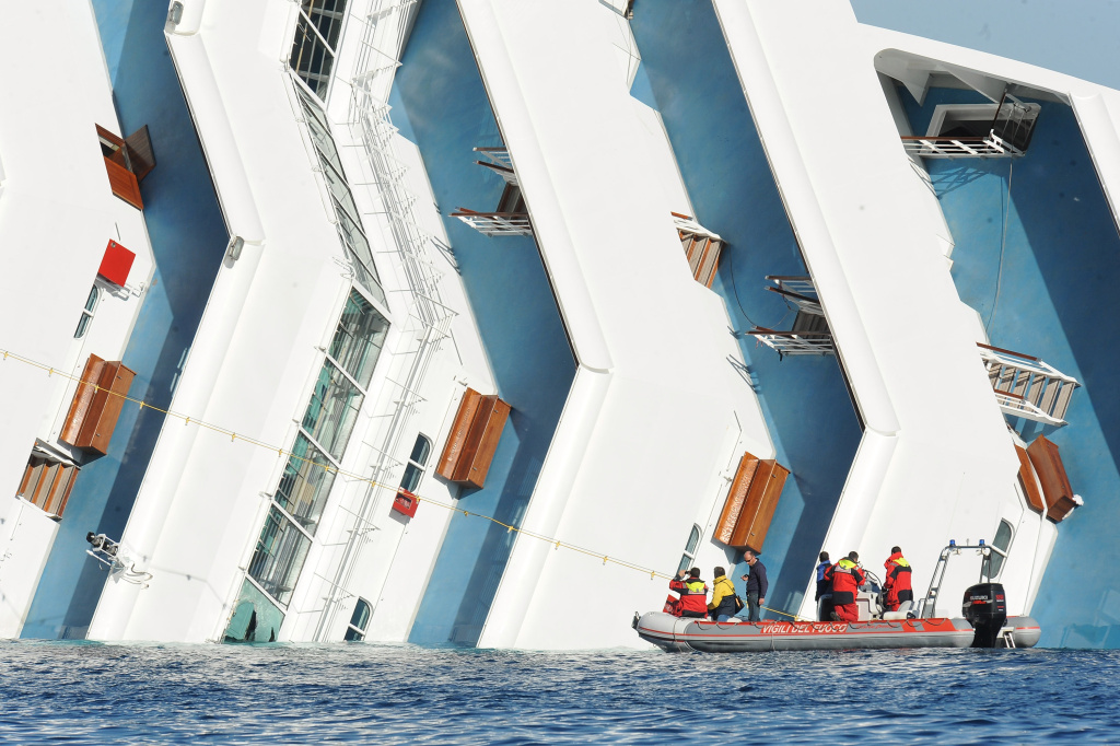 The cruise ship Costa Concordia lies stricken off the shore of the island of Giglio on Jan. 20, 2012 in Giglio Porto, Italy.