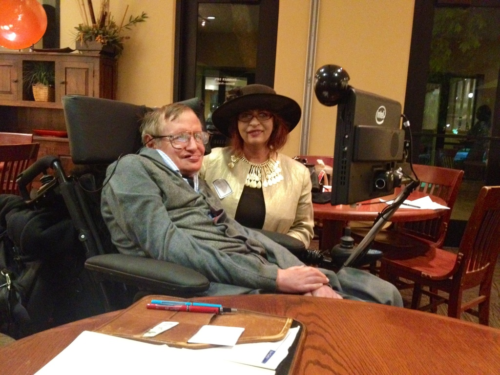 Patt Morrison and Stephen Hawking at Cal-Tech.