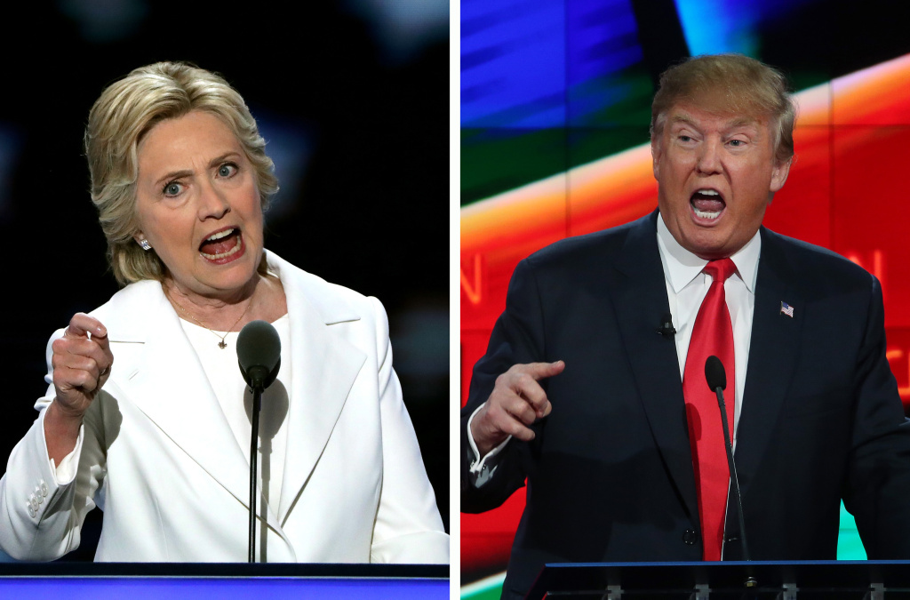 File: A composite image of U.S. Presidential Candidates Hillary Clinton and Donald Trump.
