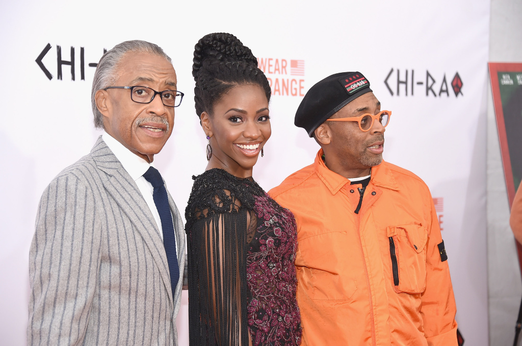 (L-R) Rev. Al Sharpton, Teyonah Parris and Spike Lee attend the
