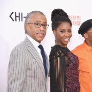 "(L-R) Rev. Al Sharpton, Teyonah Parris and Spike Lee attend the ""CHI-RAQ"" New York premiere at Ziegfeld Theater on December 1, 2015 in New York City."