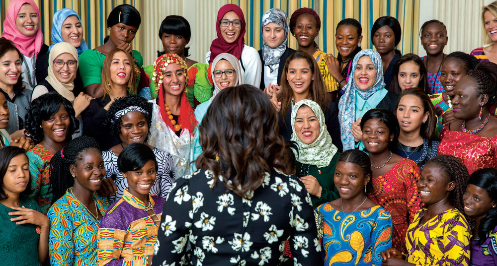 Mrs. Obama welcomes girls from Morocco and Liberia in the State Dining Room before a screening of We Will Rise: Michelle Obama's Mission to Educate Girls Around the World, October 11, 2016.