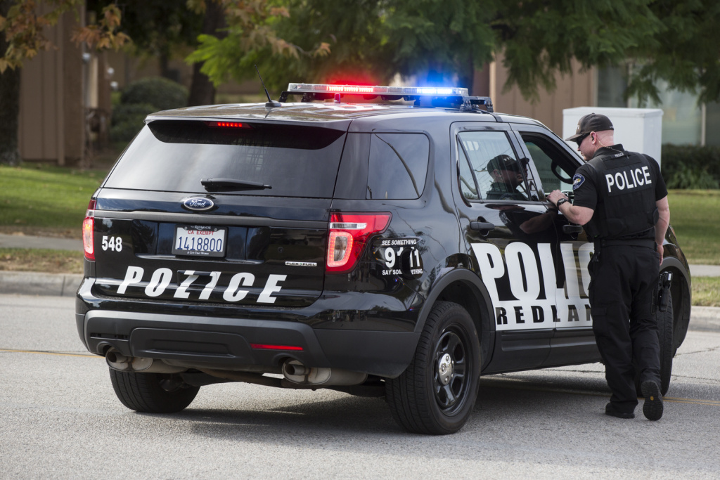 Redlands Police remain at the 50 block of N Center Street in Redlands on Thursday morning, Dec. 3, 2015. The location is being searched in connection to Wednesday's mass shooting. Twelve pipe bombs and thousands of rounds of ammunition were found at the location.