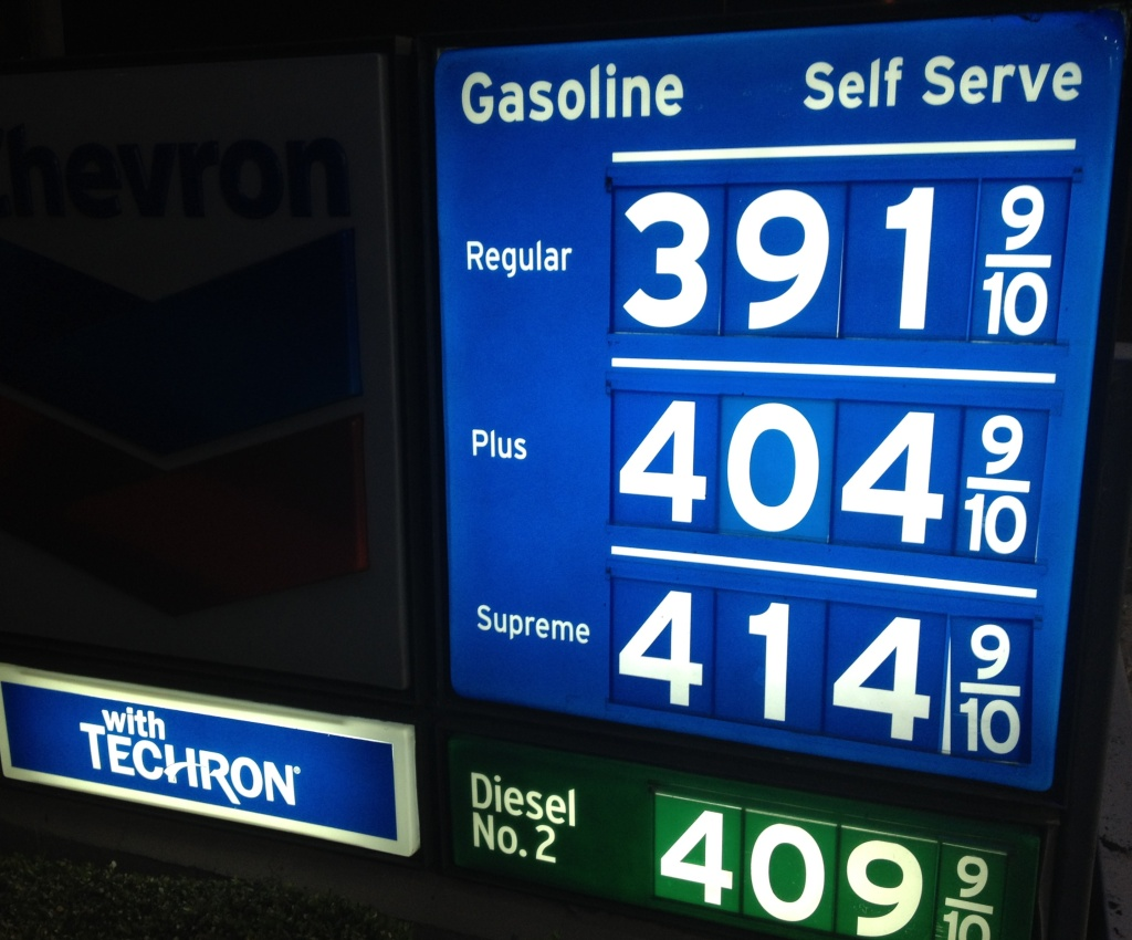 Gasoline prices in Southern California continue dropping. The average price for a gallon of self-serve regular in L.A. county Friday is $3.89. In Orange, Riverside and San Bernardino counties the average price has fallen to $3.86 for regular. (Photo: Gas prices Friday, May 3, 2013 at a Newport Beach, Calif. Chevron station).