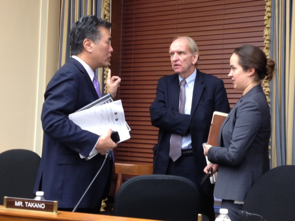 Freshman Congressman Mark Takano (D-Riverside), left, had his first bills passed in the House, but their fate is uncertain in the Senate.