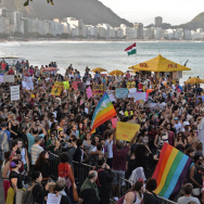 Demonstrators who are critical of the Catholic Church and favor abortion rights take part in a protest in Rio de Janeiro during Pope Francis' visit to Brazil on July 27. Abortion is illegal in Brazil with rare exceptions. Some lawmakers are attempting to