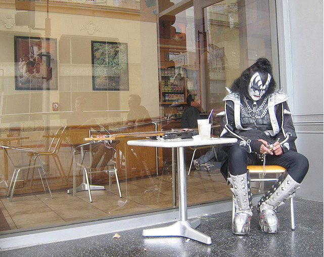 Sad Simmons impersonator takes a break at the Coffee Bean on Hollywood Blvd.