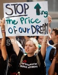 An unhappy UC students protesting 32% tuition increases at the 2009 Regents meeting.