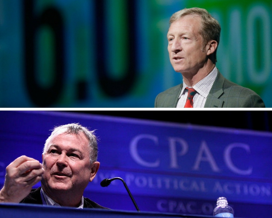 (Above) Tom Steyer introduces a panel during the National Clean Energy Summit 6.0 at the Mandalay Bay Convention Center on August 13, 2013 in Las Vegas, Nevada. (Below) Rep. Dana Rohrabacher of California speaking at CPAC 2011 in Washington, D.C.