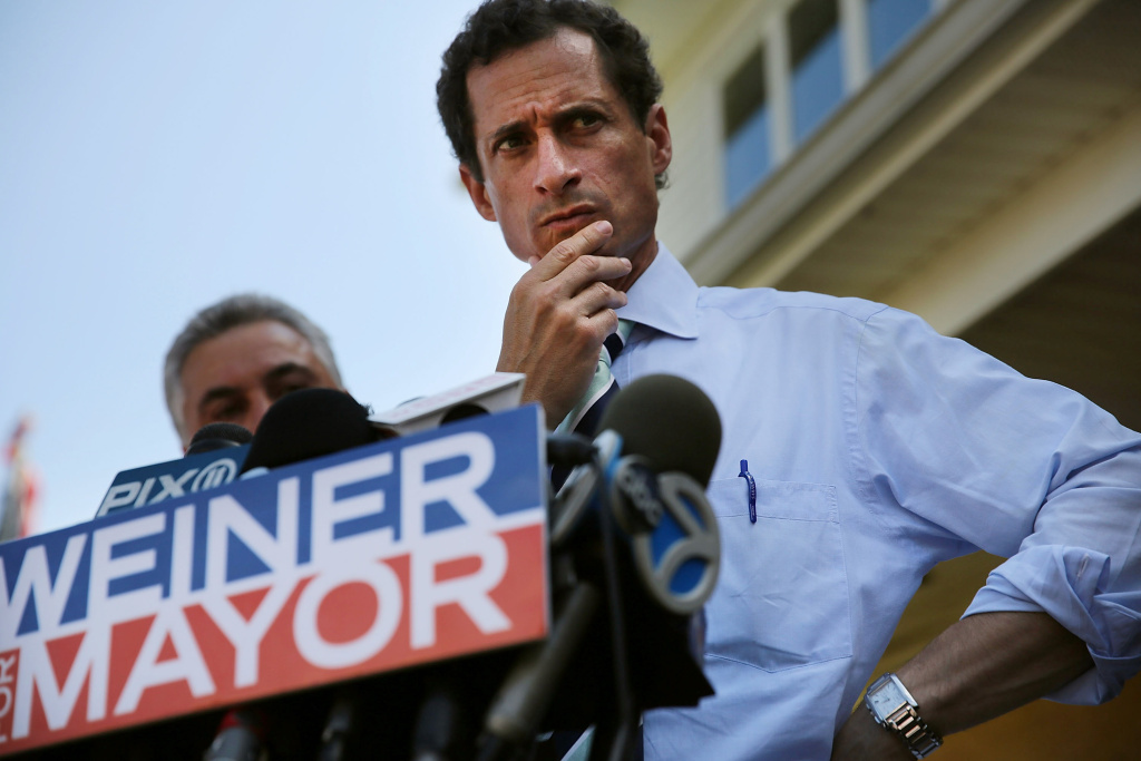 Anthony Weiner speaking with reporters on July 26, 2013 in New York City. Videos surfaced Wednesday of Weiner in a confrontation with a man outside a bakery in New York.