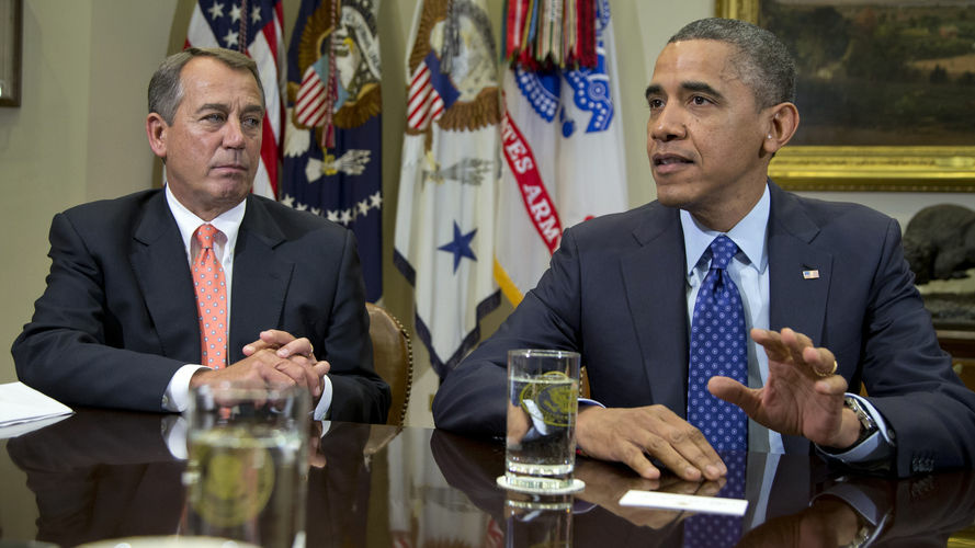 President Obama, accompanied by House Speaker John Boehner of Ohio, speaks to reporters at the White House during a recent meeting to discuss the fiscal cliff.