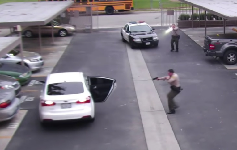 Screenshot of video released by Los Angeles County Sheriff's Department of the police shooting of Ryan Twyman.