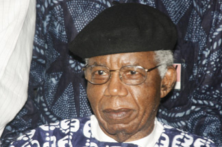 Nigerian writer, 70, Chinua Achebe is pictured on January 19, 2009 during a welcoming ceremony at Nnamdi Azikiwe International Airport in Abuja upon his return to Nigeria for the first time in over 10 years.