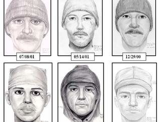 A few sketches of what the Teardrop Rapist has been described as from different assaults over the last decade.