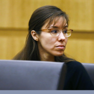 Defendant Jodi Arias looks to her family during closing arguments during her trial on Friday.