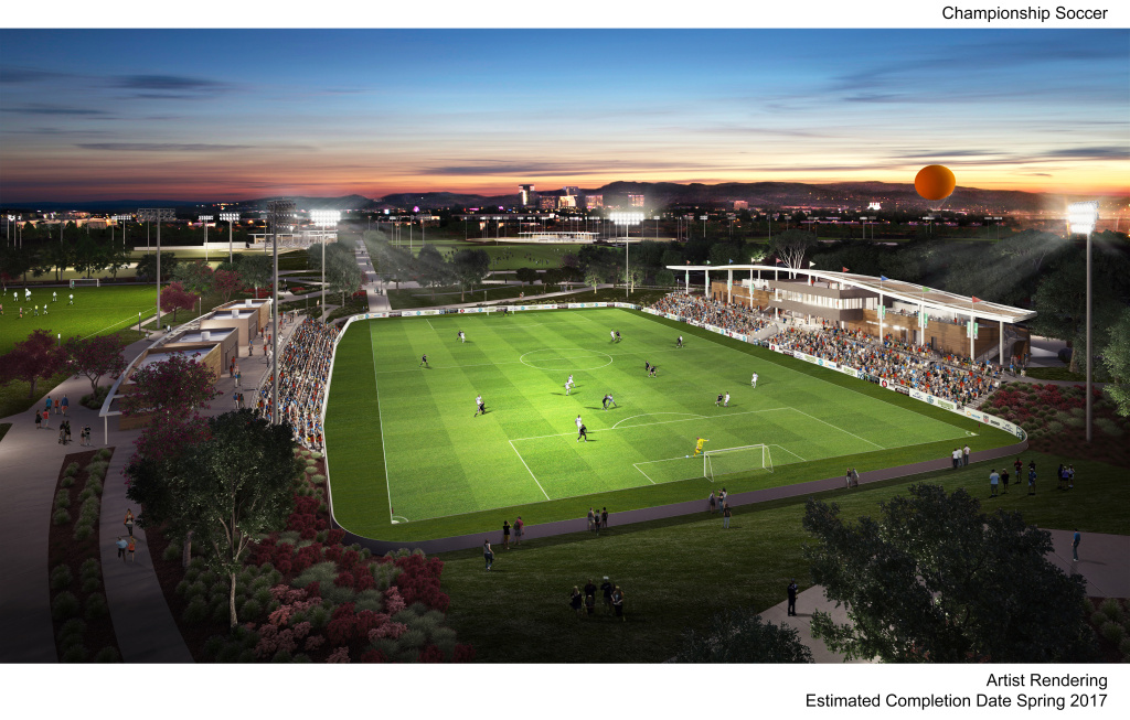 Artist rendering of the championship soccer field in progress at Orange County's Great Park.