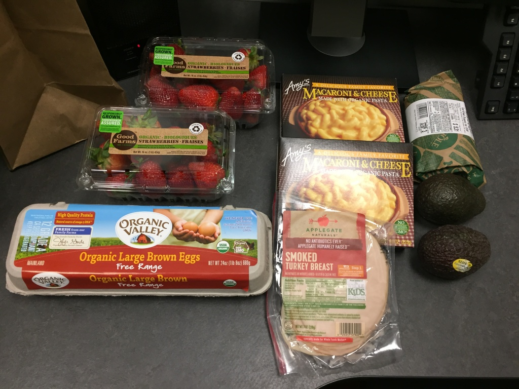 A Martinez ordered two avocados, two cartons of strawberries, a carton of eggs, two boxes of Mac and cheese, a pound of chicken and smoked turkey slices from Whole Foods through its new Amazon grocery delivery service, launched in L.A. Tuesday. The order cost about $40 and showed up in less than two hours.