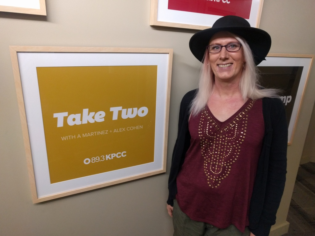 Jennifer Winslow, a transgender woman, tells Take Two that her unique American identity is that there are two of her: one before she transitioned, and another after becoming the Jen she is today.