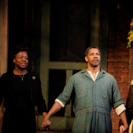 "Actors Viola Davis, Denzel Washington and Stephen McKinley Henderson take a bow during the curtain call for the Broadway Opening of ""Fences"" at the Cort Theatre on April 26, 2010."